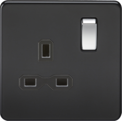 Matt Black Screwless Switches & Sockets from Knightsbridge