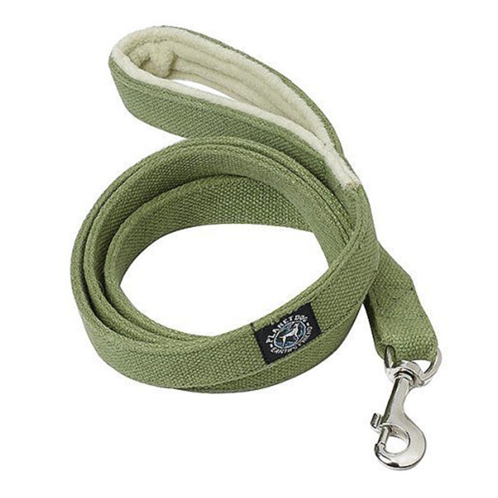 Planet Dog Hemp Leash with Fleece Lined Handle - Apple Green