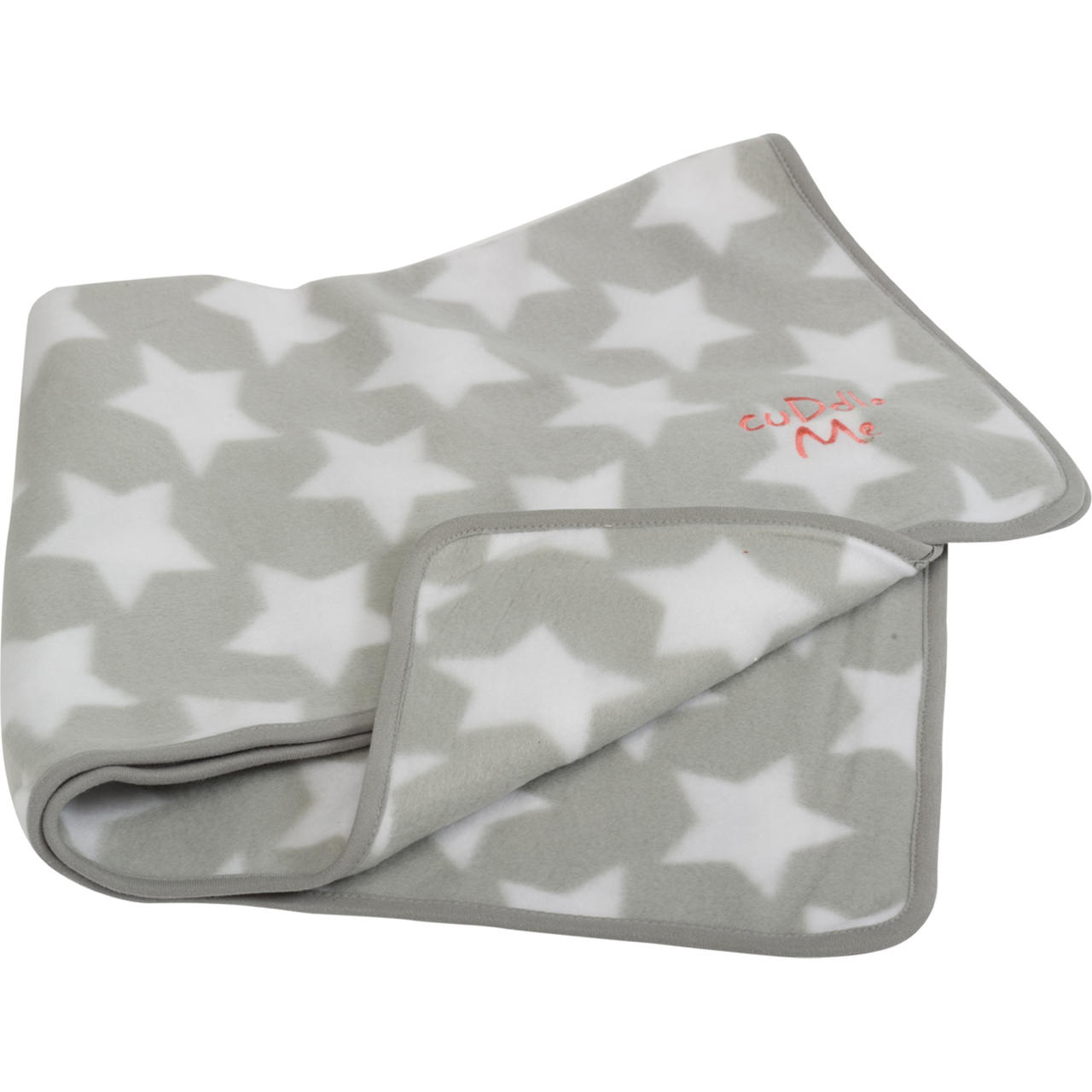 Little Petface puppy comforter blanket with a grey background and white star pattern