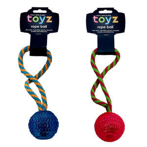 Petface Toyz Rubber Rope Ball in pink, blue or green
