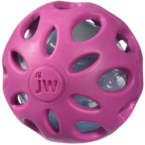 JW Crackle Heads Crunchy Ball Dog Toy Pink
