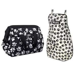 Walh black and white paw print apron and frogmouth bag for groomimg