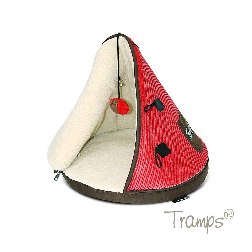 Tramps cat teepee bed in pink and chocolate