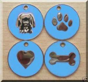 Nickel Design Engraved Dog Tags Light Blue