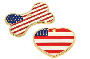 Flag Engraved ID Tag USA - enamel