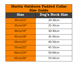 Hurtta Outdoors Padded Collar - Size Chart