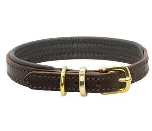 D&H Classic Colours Leather dog collar in brown