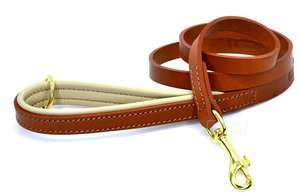 D&H Classic Colours Luxury Leather Dog Lead Tan