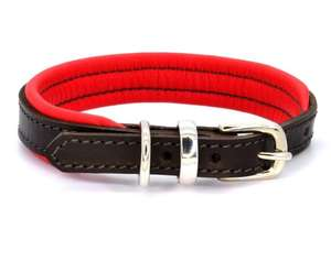 D&H Contemporary Colours Leather dog collar in red