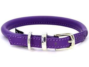 D&H Contemporary Rolled Leather Dog Collar purple