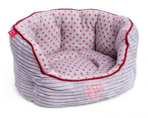 Little Petface Grey Cord Oval puppy dog bed with grey fleece and red stars reversible cushion