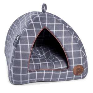 Petface Window Pane Grey Check Igloo Cat Bed