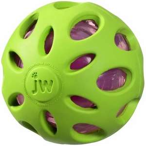 JW Crackle Heads Crunchy Ball Dog Toy Green
