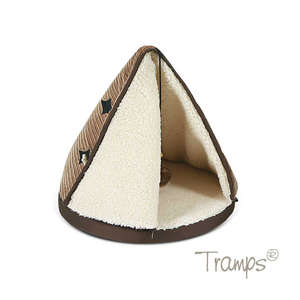 Tramps cat teepee bed in tan and chocolate