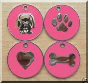 Nickel Design Engraved Dog Tags Pink