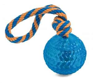 Petface Toyz Rubber Rope Ball Blue