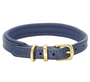 D&H Classic Colours Leather dog collar in navy