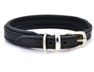 D&H Contemporary Colours Leather dog collar in black
