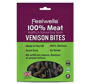 Feelwells 100% Meat Treats for Dogs - Venison Bites
