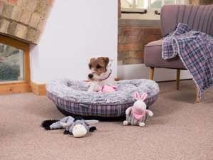 Petface Dove Grey Check Donut Dog Bed
