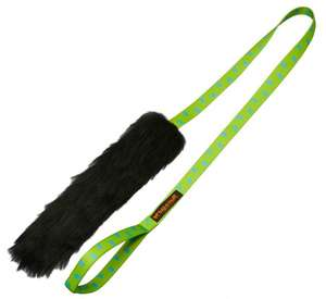 Tug-E-Nuff Chaser Tug Toy Sheepskin - Black and Green