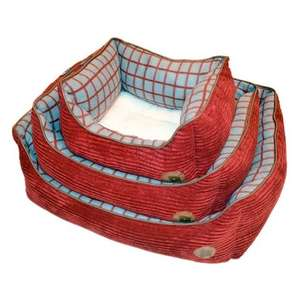 Petface Window Pane Red Jumbo Cord Check Square Dog Bed