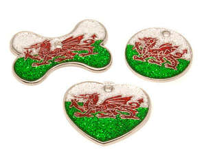 Flag Engraved ID Tag Wales - glitter