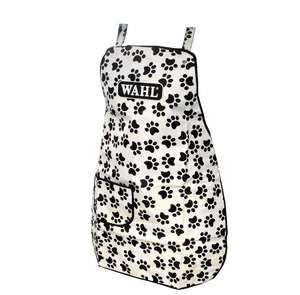 Wahl white apron with black paw design for pet grooming