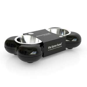 Hing Bone Dog Bowl Duo Black