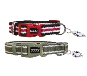 DOOG Striped Cotton Canvas Dog Collars