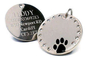 Crystal & Paw Engraved Pet ID Tags Black
