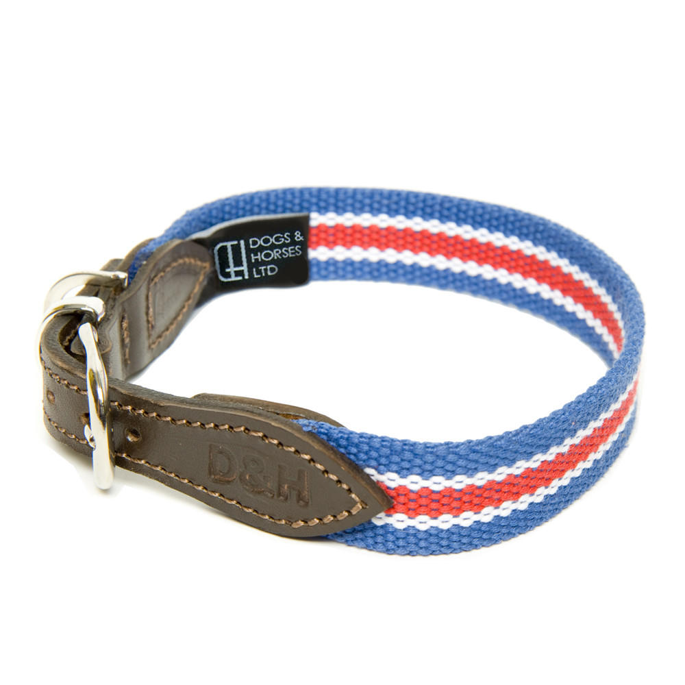 D&H Wide Striped Cotton Webbing Dog Collar - Red, Blue & White Stripe