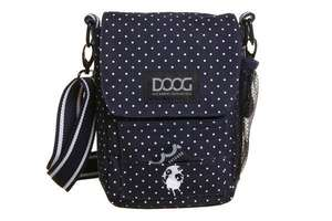 DOOG Walkie Shoulder Bag in Navy with white polkadots