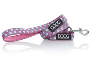 DOOG dog lead - Luna -  Pink with blue and grey teardrop pattern
