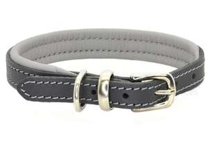 D&H Contemporary Colours Leather dog collar in grey