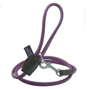 D&H Contemporary Colours Rolled Leather Luxuray Dog Lead Purple