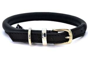 D&H Contemporary Rolled Leather Dog Collar black