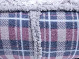 Petface Dove Grey Check Donut Bed fleece detail