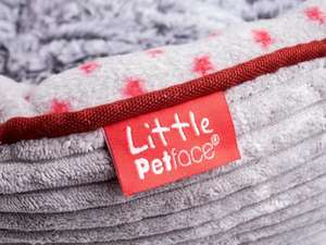 Little Petface Grey Cord Oval puppy bed detail