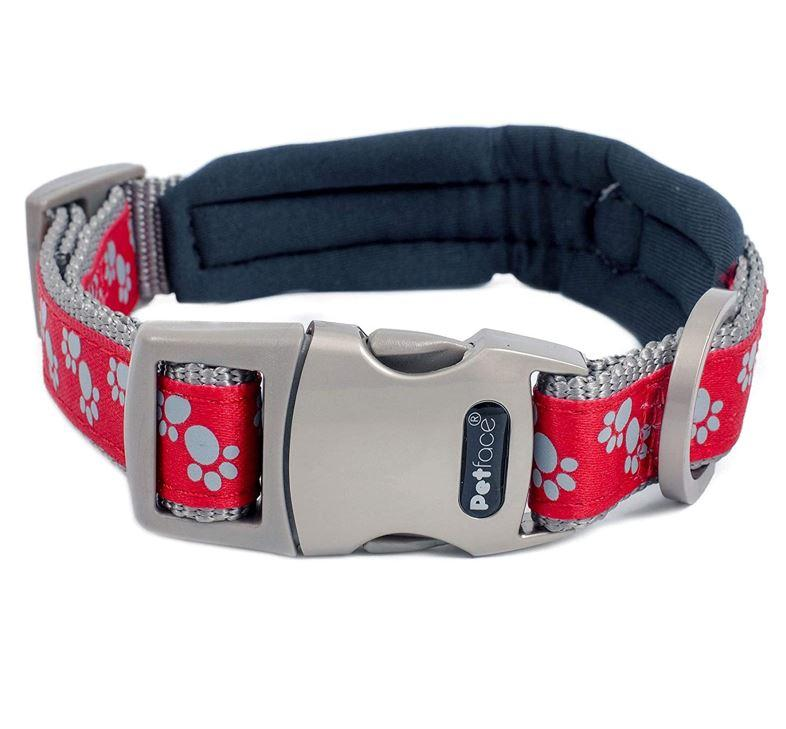 Petface Signature Padded Dog Collars Red Paws