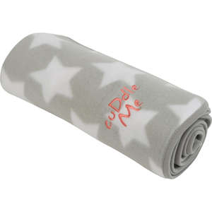 Little Petface grey and white star fleece puppy blanket rolled up