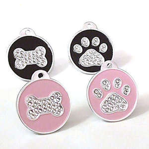 Crystal Round Paw & Bone Engraved Pet ID Tag