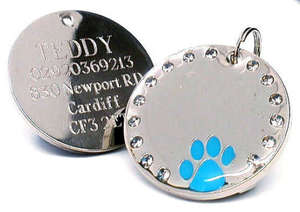 Crystal & Paw Engraved Pet ID Tags Blue