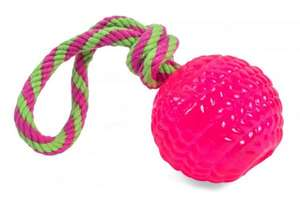 Petface Toyz Rubber Rope Ball Pink