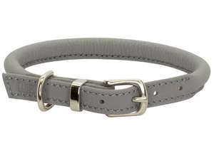 D&H Contemporary Rolled Leather Dog Collar Grey