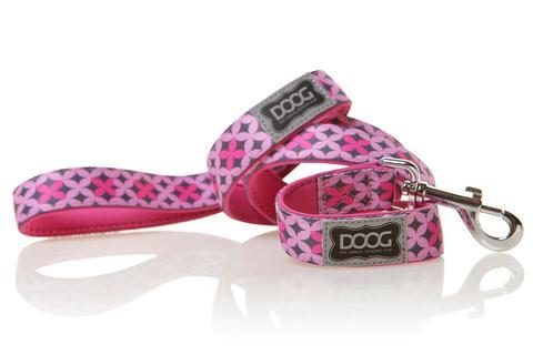DOOG dog lead Toto - pink/grey geometric design