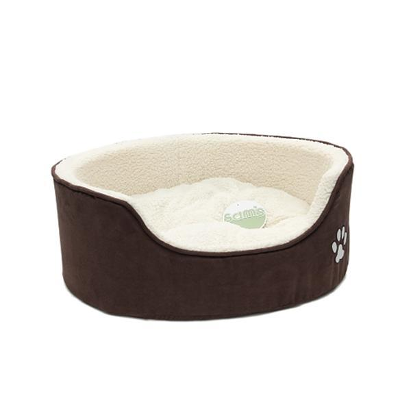 Petface Sam's Luxury Oval Dog Bed brown outer with cream fleece lining and paw motif