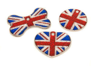 Flag Engraved ID Tag Union Jack - glitter