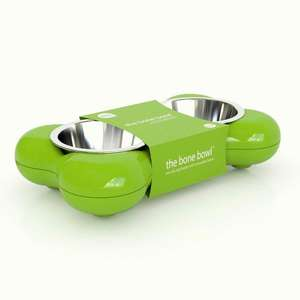 Hing Bone Dog Bowl Duo Green