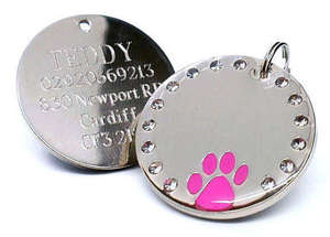 Crystal & Paw Engraved Pet ID Tags Pink